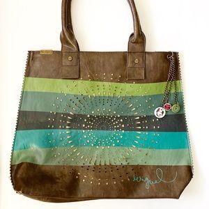 Desigual Stripe Laser Cut Shoulder Bag